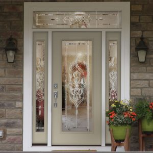 Pearl/Off-White Door with Ornate Sidelite Windows