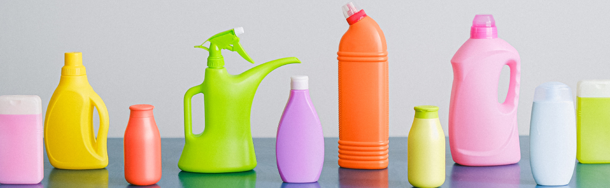 Assortment of Multi-Colored Cleaning Bottles